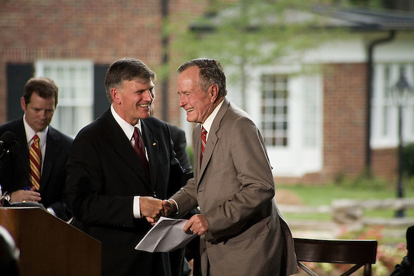 Thursday, May 31, Charlotte, North Carolina. Dedication ceremony for the new Billy Graham Library in Charlotte, North Carolina.. Franklin Graham and George HW Bush.