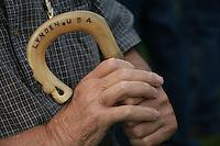 Fred Polinder holds his cane. photo by Meryl Schenker           ....schenker IMG_9559.JPG