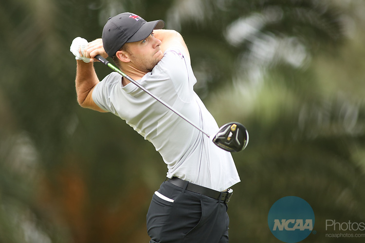 HOWEY IN THE HILLS, FL - MAY 19: Addison Lambeth of Huntingdon College tees off during the Division III Men's Golf Championship held at the Mission Inn Resort and Club on May 19, 2017 in Howey In The Hills, Florida. (Photo by Cy Cyr/NCAA Photos via Getty Images)
