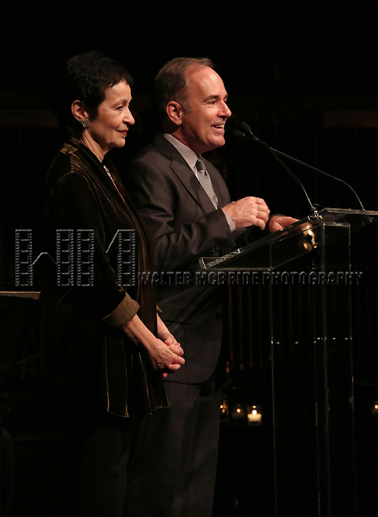 Lynn Ahrens and Stephen Flaherty on stage at the  2017 Dramatists Guild Foundation Gala presentation at Gotham Hall on November 6, 2017 in New York City.