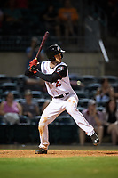 Arkansas Travelers second baseman Jeff Kobernus (4) at bat during a game against the Midland RockHounds on May 25, 2017 at Dickey-Stephens Park in Little Rock, Arkansas.  Midland defeated Arkansas 8-1.  (Mike Janes/Four Seam Images)