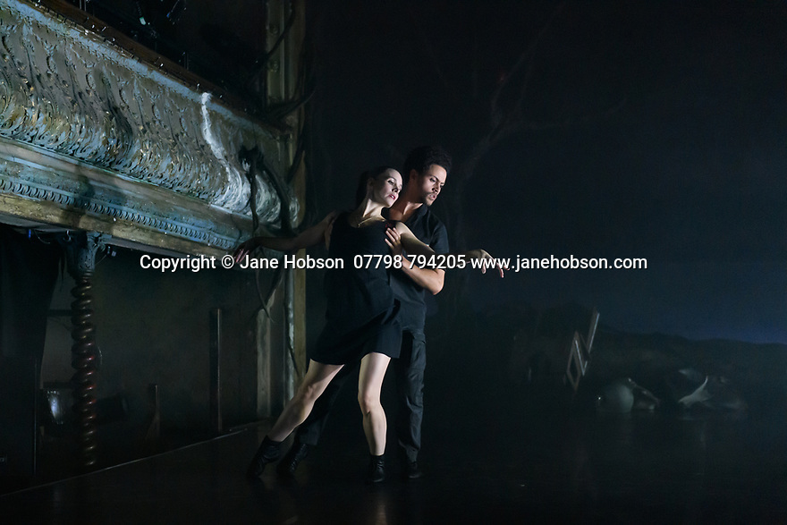 "Mark Bruce Company presents ""Return to Heaven"", at Wilton's Music Hall. Written and choreographed by Mark Bruce, with costume design by Dorothee Brodruck, lighting design by Guy Hoare, and set design by Phil Eddolls. The dancers are: Jordi Calpe-Serrats, Eleanor Duval, Carina Howard, Dane Hurst, Sharol Mackenzie, Christopher Thomas. Picture shows: Eleanor Duval, Dane Hurst"