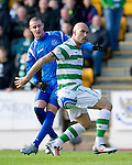 St Johnstone v Celtic..30.10.10  .Daniel Majstorovic blocks out Marcus Haber.Picture by Graeme Hart..Copyright Perthshire Picture Agency.Tel: 01738 623350  Mobile: 07990 594431