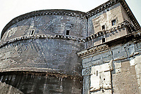 Exterior view of the Pantheon rotunda wall, Rome Italy, 118 - 125 CE.