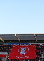 Rotherham United fans unfurl a flag with the club's badge on it before kick off<br /> <br /> Photographer David Shipman/CameraSport<br /> <br /> The EFL Sky Bet Championship - Rotherham United v Preston North End - Tuesday 1st January 2019 - New York Stadium - Rotherham<br /> <br /> World Copyright © 2019 CameraSport. All rights reserved. 43 Linden Ave. Countesthorpe. Leicester. England. LE8 5PG - Tel: +44 (0) 116 277 4147 - admin@camerasport.com - www.camerasport.com