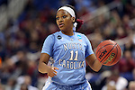 27 March 2015: North Carolina's Brittany Rountree. The University of North Carolina Tar Heels played the University of South Carolina Gamecocks at the Greensboro Coliseum in Greensboro, North Carolina in a 2014-15 NCAA Division I Women's Basketball Tournament regional semifinal game. South Carolina won the game 67-65.