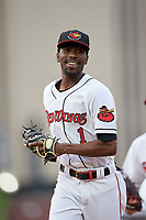 Rochester Red Wings shortstop Nick Gordon (1) jogs to the dugout in between innings during an International League game against the Buffalo Bisons on May 31, 2019 at Frontier Field in Rochester, New York.  Rochester defeated Buffalo 5-4 in ten innings.  (Mike Janes/Four Seam Images)
