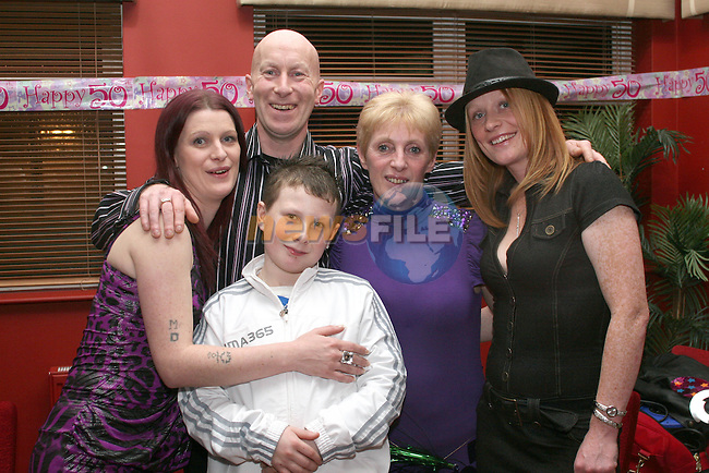 Frances Nugent with her family, Foxy, Lyndsey, Rhys and Nicola at her suprise birthday party in Harrys Bar, Mell...Photo NEWSFILE/Jenny Matthews.(Photo credit should read Jenny Matthews/NEWSFILE)....This Picture has been sent you under the condtions enclosed by:.Newsfile Ltd..The Studio,.Millmount Abbey,.Drogheda,.Co Meath..Ireland..Tel: +353(0)41-9871240.Fax: +353(0)41-9871260.GSM: +353(0)86-2500958.email: pictures@newsfile.ie.www.newsfile.ie.FTP: 193.120.102.198.