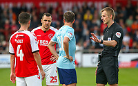 Referee Michael Salisbury has a word with Sean McConville<br /> <br /> Photographer Alex Dodd/CameraSport<br /> <br /> The EFL Sky Bet League One - Fleetwood Town v Accrington Stanley - Saturday 15th September 2018  - Highbury Stadium - Fleetwood<br /> <br /> World Copyright &copy; 2018 CameraSport. All rights reserved. 43 Linden Ave. Countesthorpe. Leicester. England. LE8 5PG - Tel: +44 (0) 116 277 4147 - admin@camerasport.com - www.camerasport.com