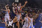 Turkish Airlines Euroleague 2017/2018.<br /> Regular Season - Round 8.<br /> FC Barcelona Lassa vs Valencia Basket: 89-71.<br /> Adrien Moerman vs Tibor Pleiss.