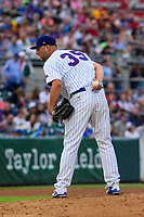Iowa Cubs pitcher Trevor Clifton (35) on the mound during a Pacific Coast League game against the Colorado Springs Sky Sox on June 22, 2018 at Principal Park in Des Moines, Iowa. Iowa defeated Colorado Springs 4-3. (Brad Krause/Four Seam Images)