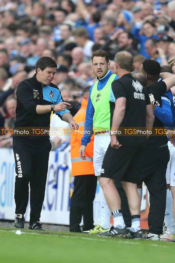 Bristol Rovers manager Darrell Clarke asks how long to go during Bristol Rovers vs Dagenham and Redbridge, Sky Bet League 2 Football at the Memorial Stadium on 7th May 2016