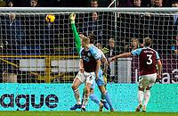 Burnley's Tom Heaton makes a save from West Ham United's Andy Carroll<br /> <br /> Photographer Alex Dodd/CameraSport<br /> <br /> The Premier League - Burnley v West Ham United - Sunday 30th December 2018 - Turf Moor - Burnley<br /> <br /> World Copyright © 2018 CameraSport. All rights reserved. 43 Linden Ave. Countesthorpe. Leicester. England. LE8 5PG - Tel: +44 (0) 116 277 4147 - admin@camerasport.com - www.camerasport.com