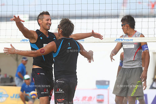 (L-R)<br /> Koichi Nishimura &amp; Ty loomis,<br /> Shinya Hata &amp; Satoshi Watanabe,<br /> SEPTEMBER 21, 2015 - Beach Volleyball : <br /> JBV Tour 2015 Tokyo Open<br /> Men's Final<br /> at Odaiba Beach, Tokyo, Japan.<br /> (Photo by Shingo Ito/AFLO SPORT)