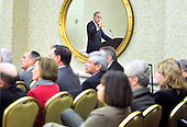 Washington, DC - May 26, 2010 -- U.S. Special Envoy for the Middle East George Mitchell is reflected in a mirror as he discusses the ongoing Israeli/Palestinian peace process at a gathering of The Jewish Federations of North America.  The delegation, which consists of Jewish leaders from across the country, is in Washington this week for face-to-face meetings with Administration and Congressional officials on American foreign policy in anticipation of Israeli Prime Minister Benjamin Netanyahu's meeting with President Obama next week..Credit: Ron Sachs / CNP