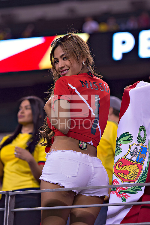 Action Photo during the match Colombia vs Peru, corresponding to the Quarters Finals of Copa America 2016 at MetLife Stadium, East Rutherford, New Jersey.<br /> <br /> Foto durante el partido Colombia vs Peru correspondiente a los Cuartos de Final de a Copa America 2016 en MetLife Stadium, East Rutherford, New Jersey. en la foto:Fans<br /> <br /> --- 17/06/2016/MEXSPORT/JAVIER RAMIREZ
