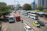 Traffic in central city area of Colombo, Sri Lanka, Asia