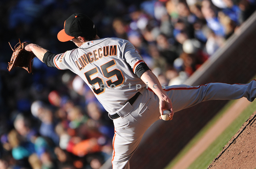 San Francisco Giants Tim Lincecum (55) during a game against the Chicago Cubs on April 14, 2013 at Wrigley Field in Chicago, IL. The Giants beat the Cubs 10-7.