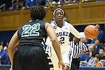 14 November 2013: Duke's Alexis Jones (2) and USC Upstate's Alex Stanford (22). The Duke University Blue Devils played the University of South Carolina Upstate Spartans at Cameron Indoor Stadium in Durham, North Carolina in a 2013-14 NCAA Division I Women's Basketball game. Duke won the game 123-40.