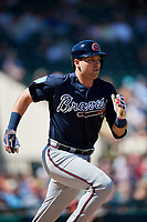 Atlanta Braves third baseman Austin Riley (74) runs to first base during a Grapefruit League Spring Training game against the Detroit Tigers on March 2, 2019 at Publix Field at Joker Marchant Stadium in Lakeland, Florida.  Tigers defeated the Braves 7-4.  (Mike Janes/Four Seam Images)
