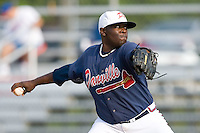 Relief pitcher Rico Reid (40) of the Danville Braves in action at Dan Daniels Park in Danville, VA, Sunday July 27, 2008.