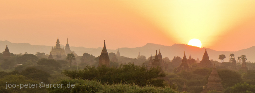 sunset view on Bagan archeological site from Tha Gyar Hit temple