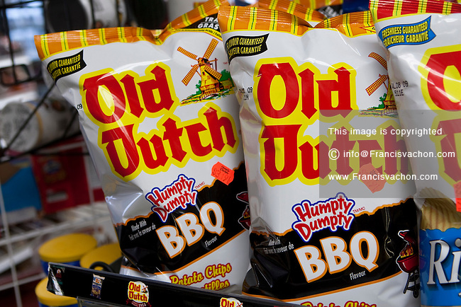 Bags of Old Dutch potato chips are seen on display in a convenient store in Quebec City February 26, 2009
