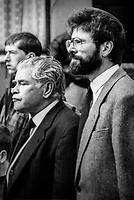 Sinn Fein president Gerry Adams at the funeral of his mother Annie on 8th September 1992. Also in the photo is his father, Gerry Adams, senior. 199209080001GA.<br />