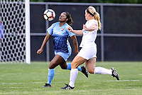Piscataway, NJ - Sunday April 30, 2017: Kayla Mills, Caroline Flynn during a regular season National Women's Soccer League (NWSL) match between Sky Blue FC and FC Kansas City at Yurcak Field.