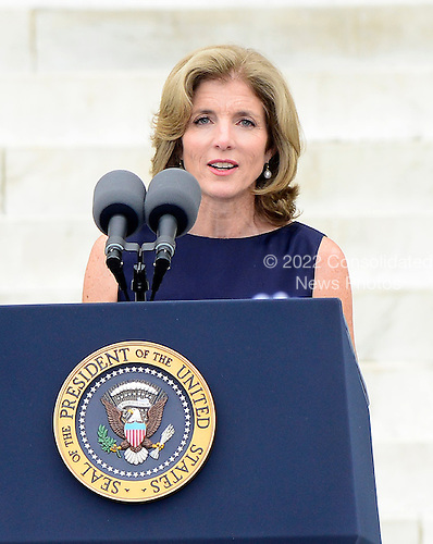 Ambassador Caroline Kennedy, daughter of former United States President John F. Kennedy, makes remarks at the Let Freedom Ring ceremony on the steps of the Lincoln Memorial to commemorate the 50th Anniversary of the March on Washington for Jobs and Freedom<br /> Credit: Ron Sachs / CNP