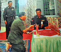 An undated file photo of General Twan Shwe during a visit to temples on Mandalay Hill, Mandalay, Burma, November 08. <br /> <br /> Photo by Richard Jones