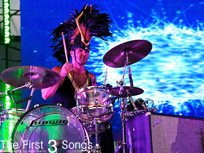 Tony Mitolo of Empire of the Sun performs during the 2013 Budweiser Made in America Festival in Philadelphia, Pennsylvania.