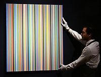 Bridget Riley, Songbird, estimate &pound;400,000-600,000 at Christie&rsquo;s exhibition of art from the collection of the late George Michael, featuring works by Damien Hirst, Tracey Emin and Marc Quinn, from its upcoming The George Michael Collection Evening and Online Auctions, on view to the public from 9-15 March 2019. <br /> CAP/JOR<br /> &copy;JOR/Capital Pictures
