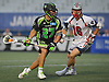 Jacob Richard #27 of the New York Lizards, left, maneuvers for a shot during a Major League Lacrosse game against the Boston Cannons at Shuart Stadium in Hempstead, NY on Thursday, July 20, 2017.