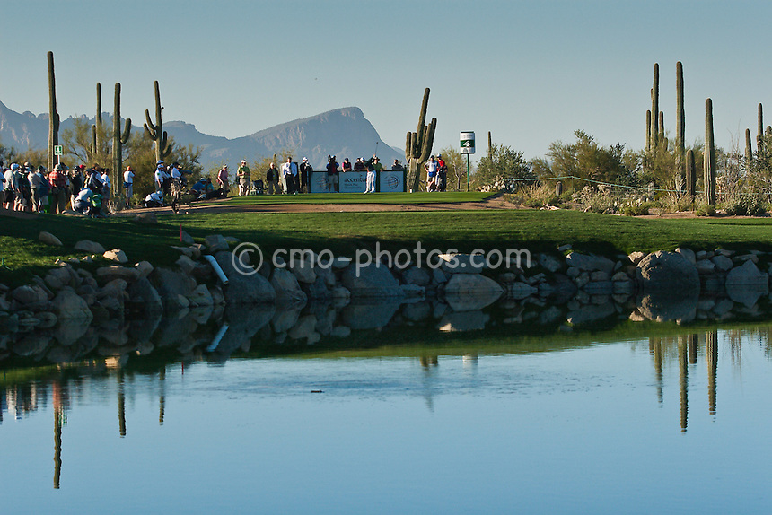 Mar 1, 2009; Marana, AZ, USA; Paul Casey (ENG) hits his tee shot on the 4th hole during the final round of the World Golf Championships-Accenture Match Play Championship at the Ritz-Carlton Golf Club, Dove Mountain.