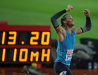 Pascal MARTINOT-LAGARDE of France (110m Hurdles) celebrates a photo finish but ultimately ends up finishing second in a time of 13.22 during the Sainsburys Anniversary Games at the Olympic Park, London, England on 24 July 2015. Photo by Andy Rowland.