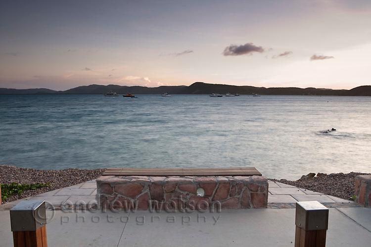 Scenic seating on the Victoria Parade esplanade.  Thursday Island, Torres Strait Islands, Queensland, Australia