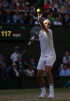 Roger Federer (3) of Switzerland in action during his victory over Tomas Berdych of Czech Republic in their Men's Singles Semi Final Match today - Federer def Berdych 7-6, 7-6, 6-4<br /> <br /> Photographer Ashley Western/CameraSport<br /> <br /> Wimbledon Lawn Tennis Championships - Day 11 - Friday 14th July 2017 -  All England Lawn Tennis and Croquet Club - Wimbledon - London - England<br /> <br /> World Copyright &not;&copy; 2017 CameraSport. All rights reserved. 43 Linden Ave. Countesthorpe. Leicester. England. LE8 5PG - Tel: +44 (0) 116 277 4147 - admin@camerasport.com - www.camerasport.com