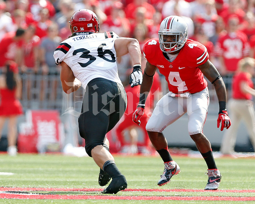 Ohio State Buckeyes safety C.J. Barnett (4) against San Diego State Aztecs in their college football game at Ohio Stadium in Columbus on September 7, 2013.  (Dispatch photo by Kyle Robertson)