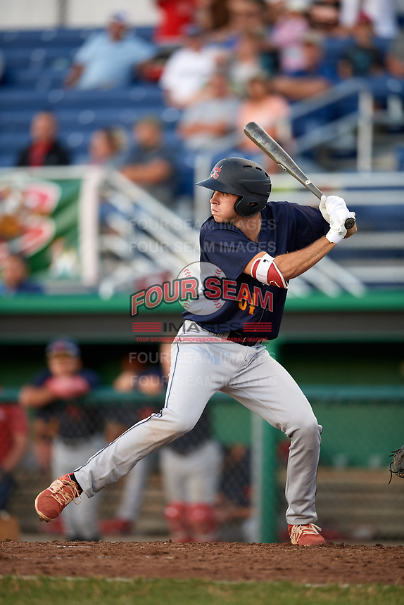 State College Spikes first baseman Brady Whalen (31) at bat during a game against the Batavia Muckdogs on July 7, 2018 at Dwyer Stadium in Batavia, New York.  State College defeated Batavia 7-4.  (Mike Janes/Four Seam Images)