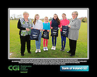 Malone GC team with Bank of Ireland Officials Angela Callan and Heather Raney with Junior golfers from across Ulster practicing their skills at the regional finals of the Dubai Duty Free Irish Open Skills Challenge at The CAFRE Greenmount Campus in Antrim. 2/04/2016.<br /> Picture: Golffile | Fran Caffrey<br /> <br /> <br /> All photo usage must carry mandatory copyright credit (© Golffile | Fran Caffrey)