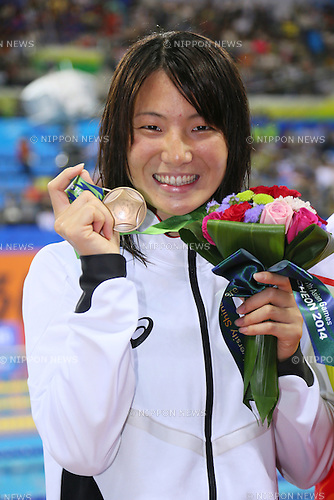 Miyuki Takemura (JPN), <br /> SEPTEMBER 23, 2014 - Swimming : <br /> Women's 50m Backstroke Medal Ceremony <br /> at Munhak Park Tae-hwan Aquatics Center <br /> during the 2014 Incheon Asian Games in Incheon, South Korea. <br /> (Photo by YUTAKA/AFLO SPORT)