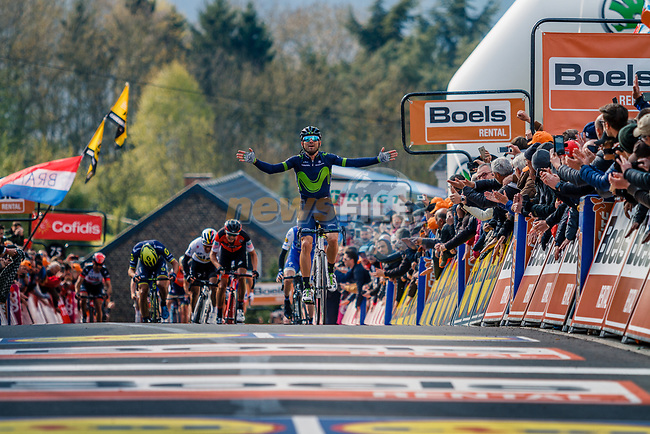 Alejandro Valverde (ESP) Movistar Team wins his 5th Fleche on the summit of Mur de Huy at the end of La Fleche Wallonne 2017, Huy, Belgium. 19th April 2017. Photo by Thomas van Bracht / PelotonPhotos.com