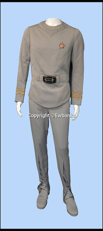 BNPS.co.uk (01202 558833)<br /> Pic: Ewbanks/BNPS<br /> <br /> Attention all Trekkies. <br /> <br /> The uniform worn by iconic character Spock in the first ever Star Trek film will be made available at auction. <br /> <br /> The all grey, two-piece outfit adorned by Leanord Nimoy throughout the 1979 classic sci-fi movie is expected to fetch up to £15,000 when it goes under the hammer. <br /> <br /> Trekkies will be excited to see the Starfleet insignia patch sewn on to the chest, with the 'perscan' medical monitoring device, used in the film to measure the body's vital signs, attached to a false belt just below.