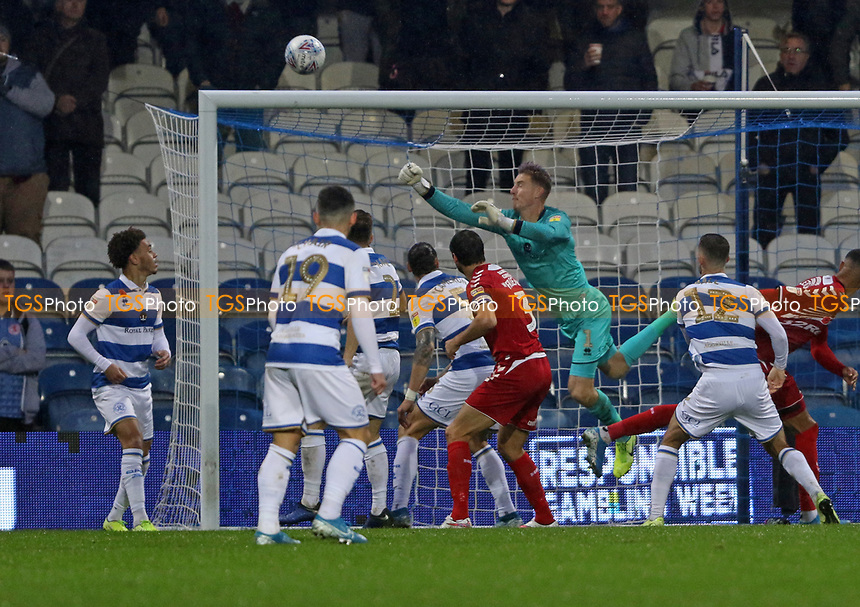 Joe Lumley of Queens Park Rangers punches the ball clear during Queens Park Rangers vs Middlesbrough, Sky Bet EFL Championship Football at Loftus Road Stadium on 9th November 2019
