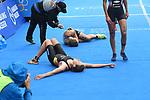 06.07.2019,  Innenstadt, Hamburg, GER, Hamburg Wasser World Triathlon, Elite Frauen, im Bild Caroline Pohle (GER) liegt auf dem Boden nach dem Zieleinlauf Foto © nordphoto / Witke *** Local Caption ***