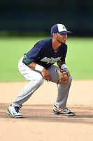 Vermont Lake Monsters third baseman Jose Brizuela (5) during a game against the Jamestown Jammers on July 13, 2014 at Russell Diethrick Park in Jamestown, New York.  Jamestown defeated Vermont 6-2.  (Mike Janes/Four Seam Images)