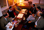 'DUKE OF BEAUFORT HUNT', BEAUFORT HUNT FARMER LIASON COMMITTEE MEETING TAKING PLACE IN THE DUKE PUBLIC HOUSE IN HILLMARTIN GLOUCESTERSHIRE ENGLAND.