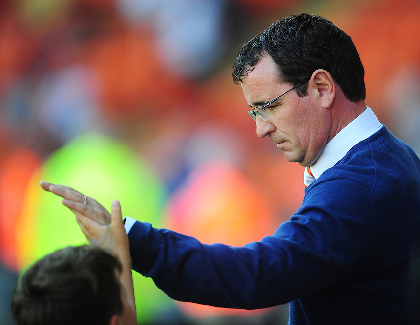 Blackpool manager Gary Bowyer high fives a young fan<br /> <br /> Photographer Kevin Barnes/CameraSport<br /> <br /> Football - The EFL Sky Bet League Two - Blackpool v Exeter City - Saturday 6th August 2016 - Bloomfield Road - Blackpool<br /> <br /> World Copyright &copy; 2016 CameraSport. All rights reserved. 43 Linden Ave. Countesthorpe. Leicester. England. LE8 5PG - Tel: +44 (0) 116 277 4147 - admin@camerasport.com - www.camerasport.com