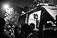 ©VIRGINIE NGUYEN HOANG.Egypt,Cairo.19/11/2012..Fighting broke out on Monday night in Cairo during a mass demonstration to commemorate last year's clashes on Mohamed Mahmoud Street. Protesters were throwing rocks while police fired birdshots and teargas at them....